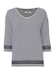 Dickins And Jones Stripe Top With Diamond Sleeve Detail Navy White Navy And White
