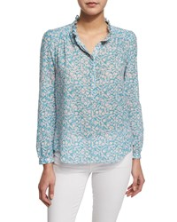 Rebecca Taylor Button Front Floral Print Semisheer Blouse Turquoise Combo Women's