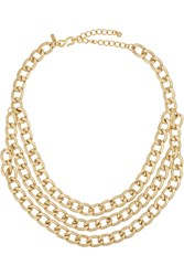 Kenneth Jay Lane Gold Plated Multi Strand Chain Necklace Metallic