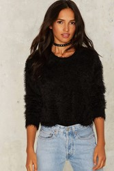 Shake Some Action Faux Fur Sweater Black