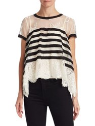 Edward Achour Sheer Stripe Lace Hem Blouse Black