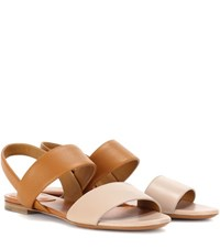 Chloe Mia Flat Leather Sandals Brown