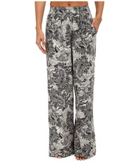 Bobeau Printed Palazzo Pants Black Pattern Women's Casual Pants