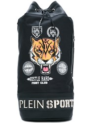 Plein Sport Printed Drawstring Backpack Men Leather Nylon One Size Black