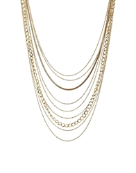 Designsix Multirow Manhattan Necklace Gold