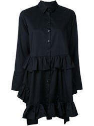 Elaidi Ruffle Detail Tunic Top Black