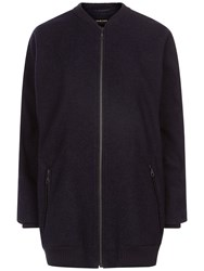 Jaeger Wool Blend Aviator Jacket Navy