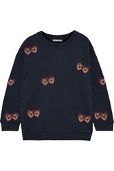 Chinti And Parker Embroidered Cotton Fleece Sweatshirt Navy