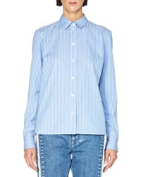 Stella Mccartney Striped Colorblock Button Front Blouse Blue White Blue White