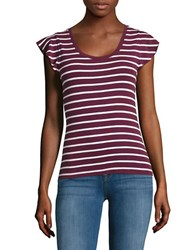 Lord And Taylor Petite Flutter Sleeve Ribbed Top Purple