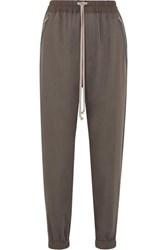 Rick Owens Cotton Trimmed Wool Track Pants Light Gray