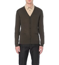 Dsquared Button Up Wool Cardigan Olive Melange