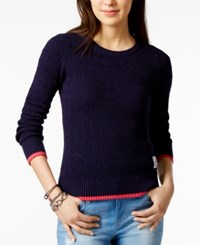 Tommy Hilfiger Cotton Cable Knit Sweater Only At Macy's Navy Combo