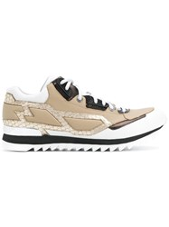 Les Hommes Ridged Lace Up Sneakers Nude And Neutrals