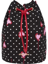 Miu Miu Faille Heart Polka Dot Print Make Up Bag Black