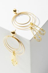 Anthropologie Linked Safety Pin Drop Earrings Gold