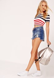 Missguided High Waisted Step Hem Shorts Blue