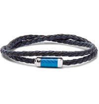 Tateossian Monte Carlo Woven Leather Sterling Silver Bracelet Navy