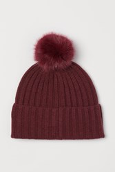 Handm H M Knit Hat With Pompoms Red