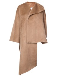Delpozo Asymmetric One Sleeve Coat Brown