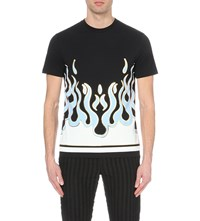 House Of Holland Flames Print Cottom Jersey T Shirt Black