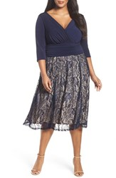Sangria Plus Size Women's Jersey And Lace Midi Dress