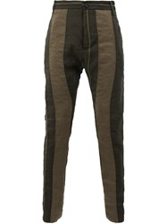 Masnada Striped Skinny Trousers Brown
