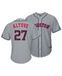 Majestic Jose Altuve Houston Astros Stars And Stripes Cool Base Jersey Gray Red Blue