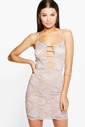 Boohoo Lace Plunge Strap Detail Bodycon Dress Taupe