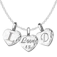 Dower And Hall Engravable Trio Heart Pendant Necklace Silver