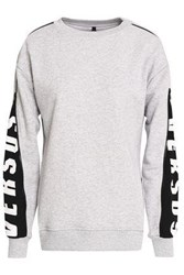 Versus By Versace Zip Detailed Printed French Cotton Terry Sweatshirt Light Gray