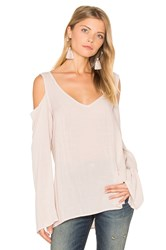 Bella Dahl Cold Shoulder V Neck Blouse Beige