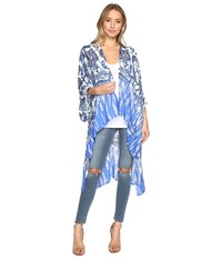 Bindya Flower Mix Kimono Blue Women's Clothing