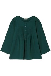 Apiece Apart Las Damas Pintucked Crinkled Cotton Gauze Blouse Emerald