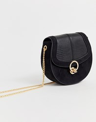 Miss Kg Across Body Saddle Bag With Hardware Black