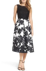 Ellen Tracy Women's Lace And Floral Faille Midi Dress