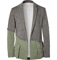 Greg Lauren Slim Fit Panelled Distressed Herringbone Wool And Cotton Canvas Blazer Charcoal