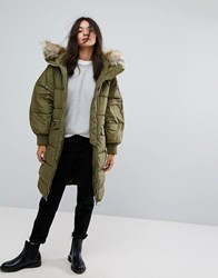 Pull And Bear Pullandbear Long Line Padded Jacket With Faux Fur Hood Green