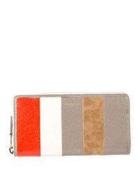 Balenciaga Bazar Contza Striped Leather Wallet Beige