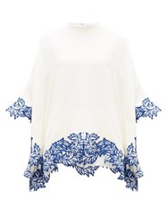 Andrew Gn Floral Embroidered Crepe Poncho Top Ivory
