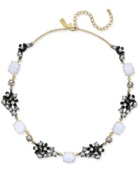 Kate Spade New York Two Tone Imitation Pearl And Stone Flower Collar Necklace Blue Multi