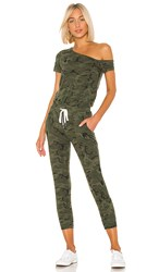 N Philanthropy Britton Jumpsuit In Green. Moss Multi Camo