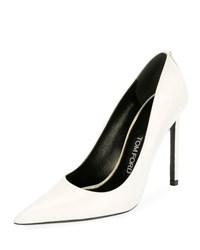Tom Ford Pointed Toe 105Mm Leather Pump Chalk