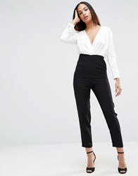 Asos Jumpsuit With Satin Top Black White