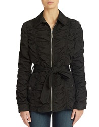 Betsey Johnson Crinkle Zip Front Jacket Black