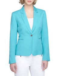 Tahari By Arthur S. Levine Plus Notched Blazer Aqua Blue