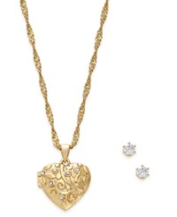 Charter Club Gold Tone Locket Necklace And Earrings Set Only At Macy's