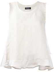 Twin Set Frilled Sleeve Vest Top Nude Neutrals