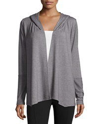 The Balance Collection Draped Open Front Hooded Cardigan Heather Asphalt