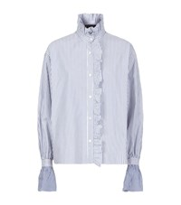 Burberry Runway Ruffled High Neck Stripe Shirt Female Blue